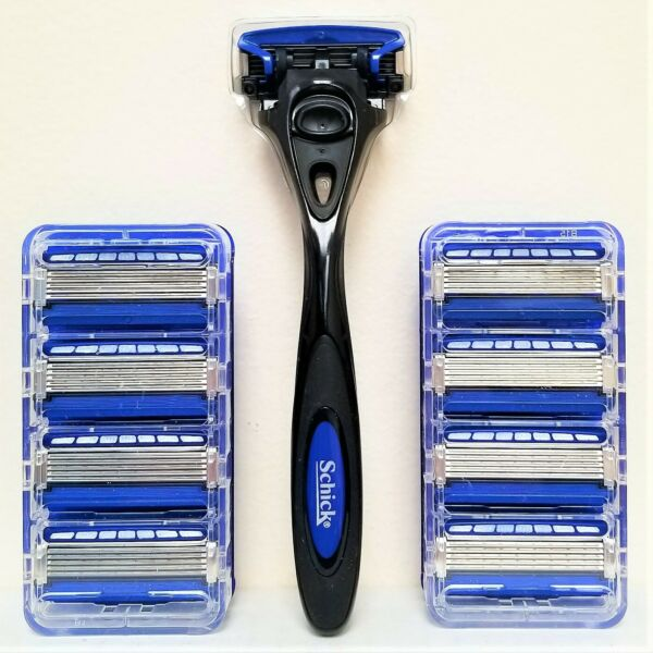 NEW SET: Schick HYDRO5 with TRIMMER 9 REFILLS AND 1 BLACK HANDLE FREE SHIP