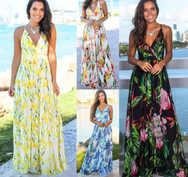 Women Ladies Boho Floral Maxi Dress Cocktail Party Evening Summer Beach Sundress $18.99