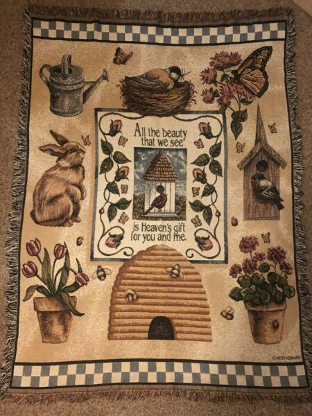 70x50 Woven Throw Blanket Tapestry Rabbit Birds Butterfly Bees Country Cover $39.99