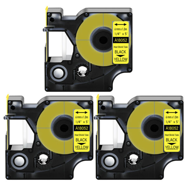 3 Heat Shrink Tube Label IND Tape Black on Yellow 18052 For Dymo Rhino 4200 1 4quot; $17.99