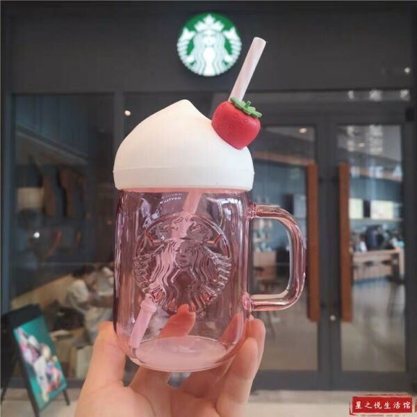 NEW Starbucks Strawberry Straw Cup w Sakura Topper Water Bottle Limited Edition