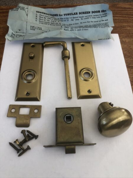 VINTAGE SCREEN DOOR LATCH Made by SHELBY METAL OHIO Dull Brass Finish New in Box
