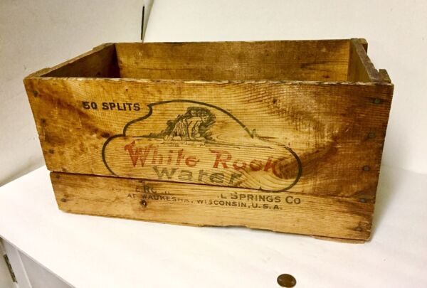 Antique Advertising Wooden Box Fairy White Rock Mineral Springs Waukesha Wis.