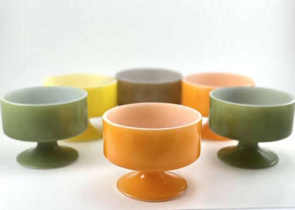 Vintage Federal Glass Footed Dessert Custard Cups Set of 6 Multicolored USA