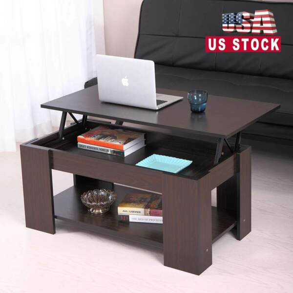 Top Lift Coffee Table w Storage Hidden Compartment Wood End Table Home Furniture