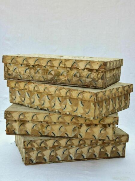 Four nineteenth century wooden boxes for storing fabric and textiles 18quot; x 26quot;