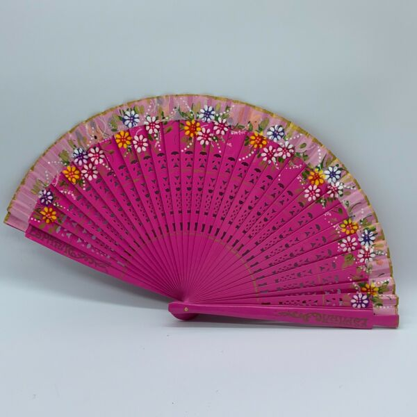 Hand Painted Fabric and Wood Fan Pink Floral Hand Fan $9.75