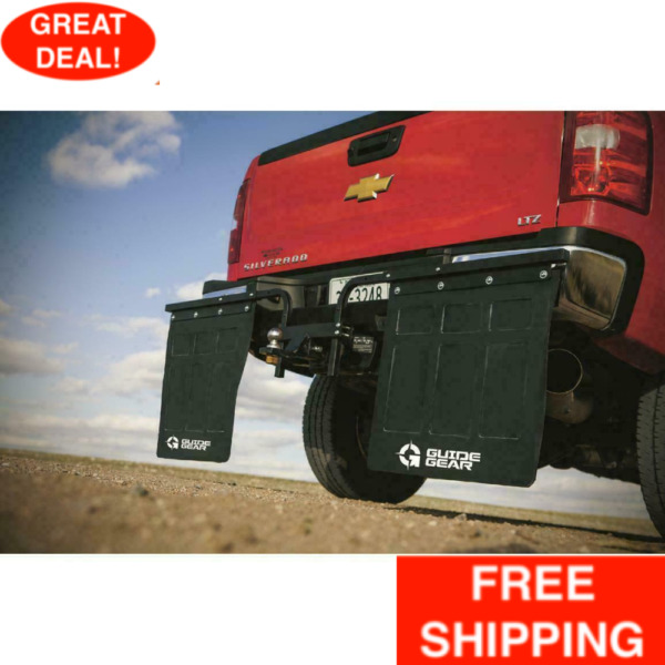 Hitch Mounted Mud Flaps Heavy Duty Rubber Adjustable Powder Coated Center Hub $147.99