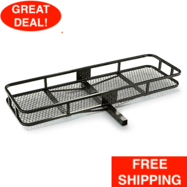 2quot; Hitch Mount Cargo Carrier Steel Basket Luggage Receiver Rack Hauler 500 lbs $93.99
