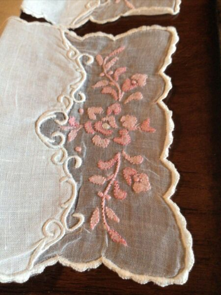Vintage 4 MADEIRA COCKTAIL NAPKINS Fine Linen White with Pink floral 4.5x 6.5quot;