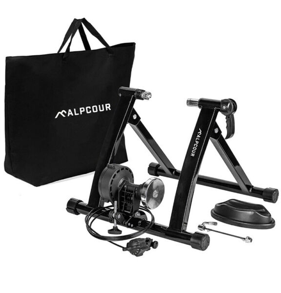 Alpcour Bike Trainer Stand – Portable Stainless Steel Indoor Trainer w Magnetic $189.99