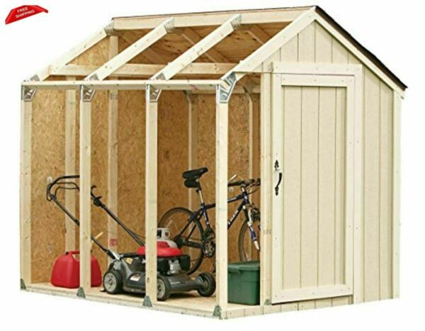 Custom Storage Shed Kit with Peak Roof DIY with Brackets Plans $67.73