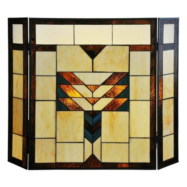 River of Goods 14574 Amber 26quot;x38quot; Geometric Stained Glass Fireplace Screen