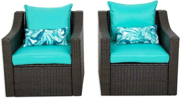 2 PCS Outdoor Patio Furniture Sets Wicker Rattan Chair Cushions $279.00