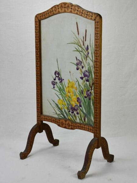 Early twentieth century French fireplace screen marquetry and glass with iris