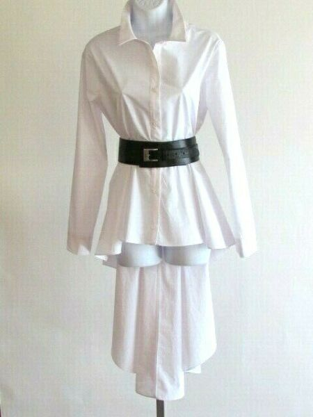 Women#x27;s Blouses Designer English Factory White 100% Cotton Long Peplum Blouse L