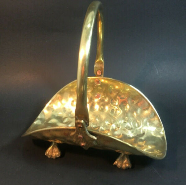 Vintage Small Brass Flat Basket Footed