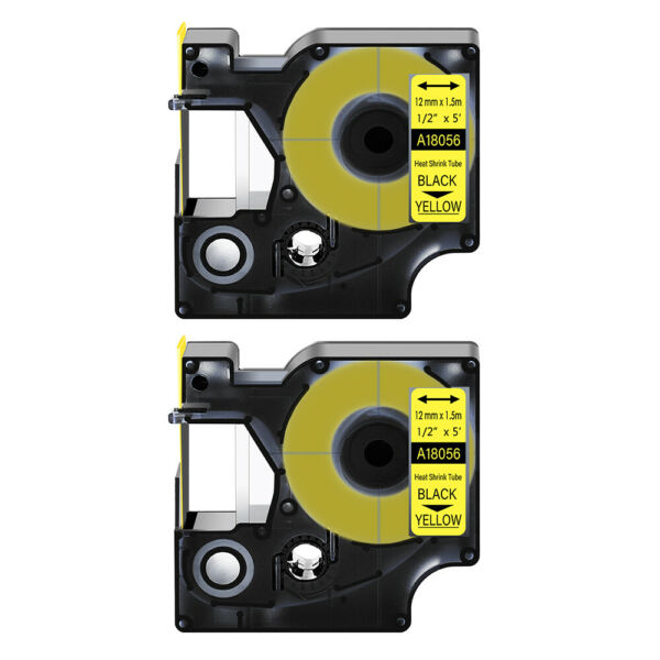 2 Heat Shrink Tube Label IND Tape Black on Yellow 18056 For Dymo Rhino 3000 1 2quot; $12.99