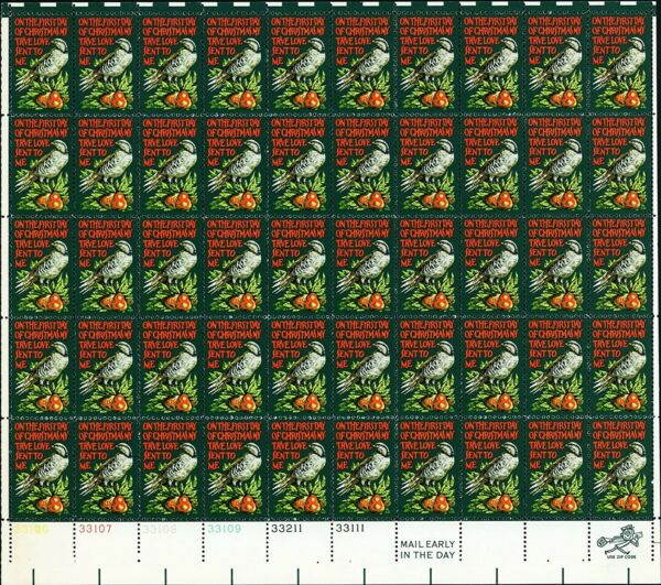 Partridge in a Pear Tree Sheet of Fifty 8 Cent Postage Stamps Scott 1445