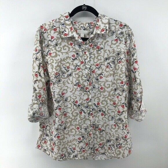 Charter Club Cream Tan Pink Floral Button Front Large Petite NWT $13.99
