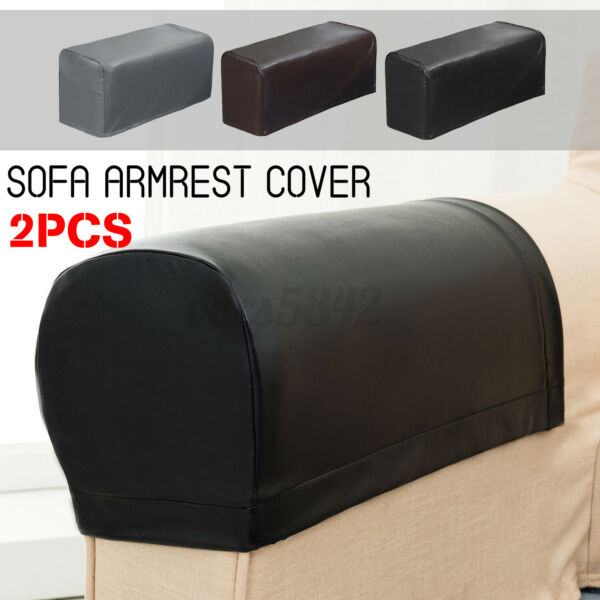 2Pcs Stretch PU Leather Sofa Armrest Covers Couch Chair Arm Furniture Protector $14.99