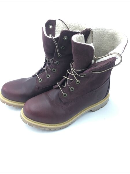 Timberland 8311A Teddy Fold Down Boots Winter Women#x27;s Size 8 M Burgundy $45.00