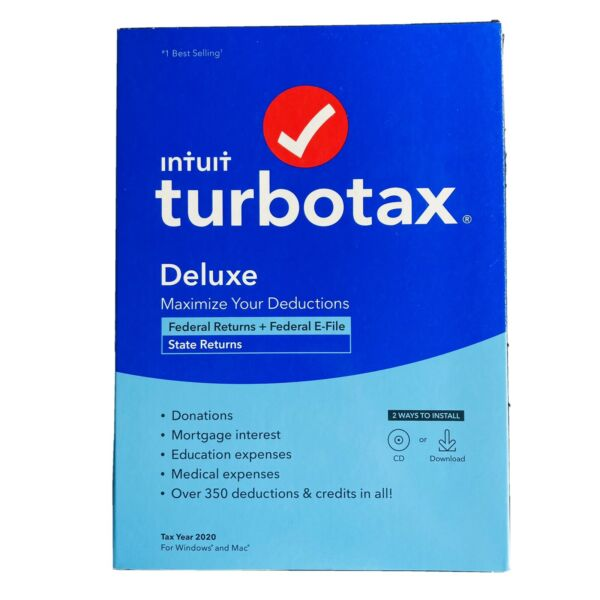 New TurboTax Deluxe Federal State Efile Returns Windows Mac 2020 CD Download