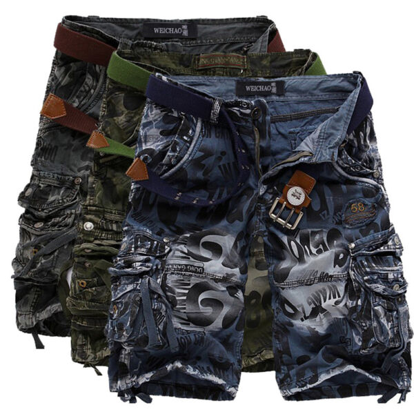 Mens Cargo Knee Length Shorts Long Military Combat Camo Army Shorts Pants