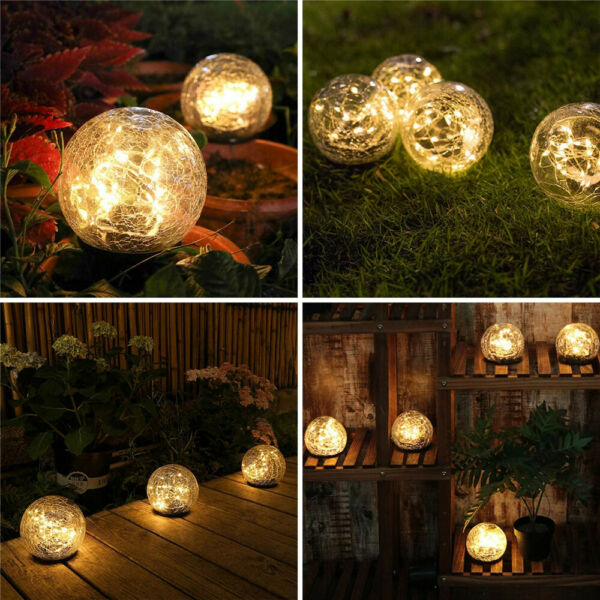 Outdoor Solar Ball LED Lights Garden Crackle Glass Globe Stake Lamp Waterproof $19.98