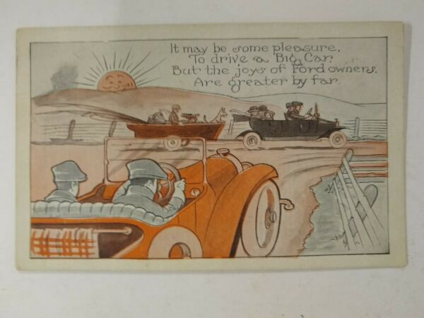 Ford Booster Comic Postcard 1923 Great Graphics Sun Dog Cars $4.99