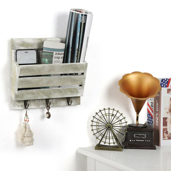 Wall Mount Mail Sorter Letter Storage Wall Rack with Key Hooks Entryway Holder $15.90