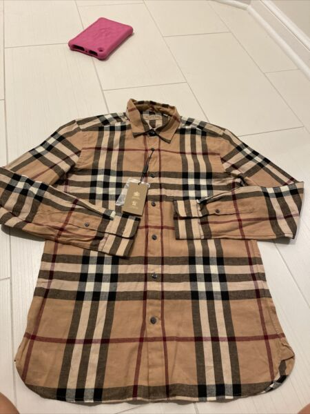 Men#x27;s BURBERRY Long Sleeve Slim Fit Shirt M L $185.00