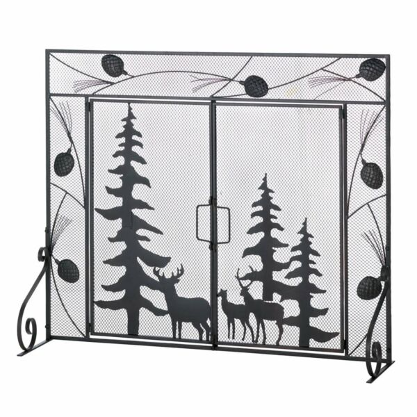 WOODLAND FOREST FIREPLACE SCREEN Deer Scene