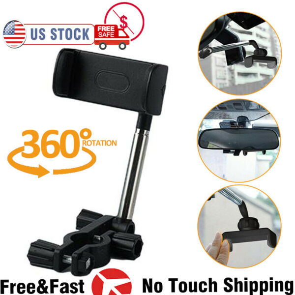 Universal 360° Car Rear View Mirror Mount Holder Stand Cradle For Cell Phone GPS $7.73