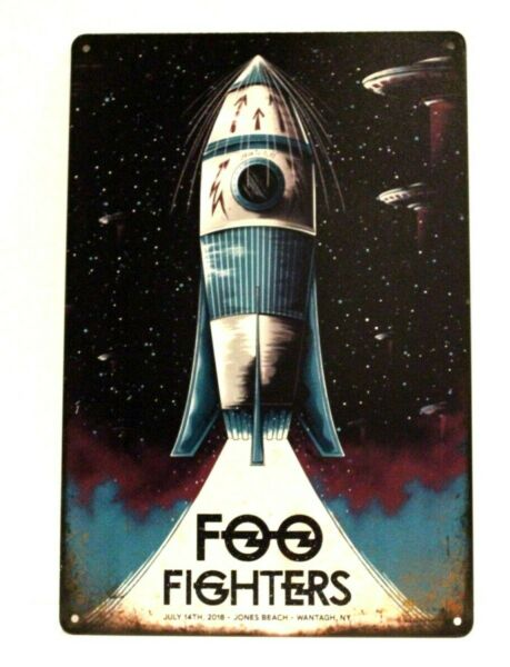 Foo Fighters in Concert Tin Sign Man Cave Spaceship Vintage Advertising Poster $8.97