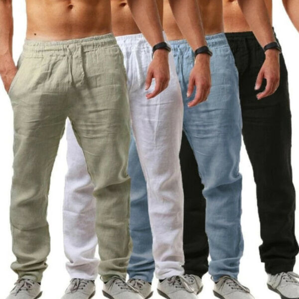 Men Bottom Jogger Pants Summer Loose Fit Drawstring Yoga Slacks Lounge Trousers