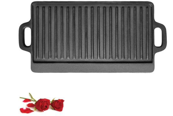 Double Sided Cast Iron Griddle Plate Non Coating Versatile Baking Cast Grill