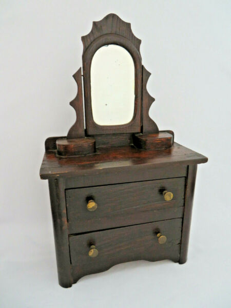 Antique Primitive Wood Two Drawer Swivel Mirror Child#x27;s Doll Dresser