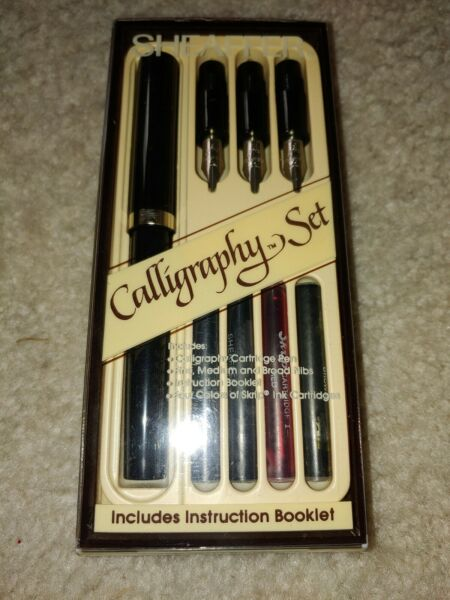 Vintage Sheaffer Calligraphy Set In Original Box Complete w Pen 3 Nibs Booklet