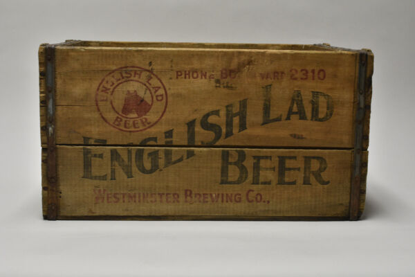 Rare Vintage English Lad Beer Wooden Beer Crate Westminster Brewing Co. Chicago