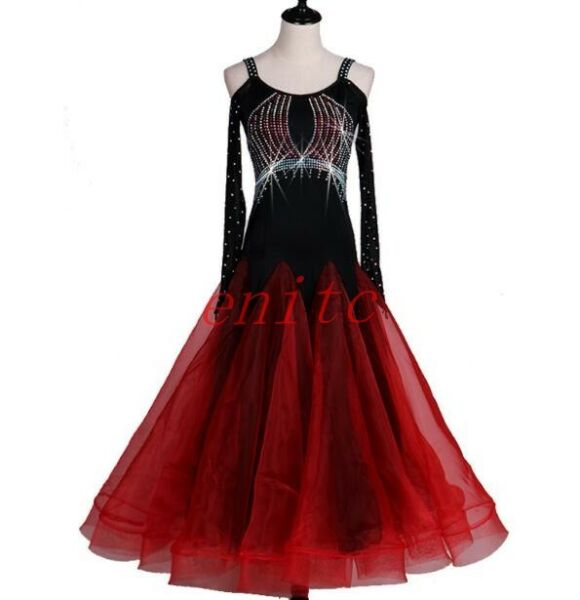 2021 Latin Ballroom Dance Dress Salsa Modern Waltz Tango Dress Off shoulderS XXL