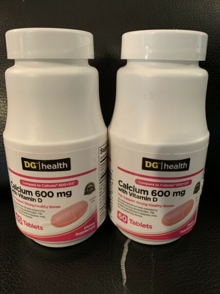 2 Calcium Carbonate 600mg with Vitamin D 60 Tablets each exp 1 22 $6.99