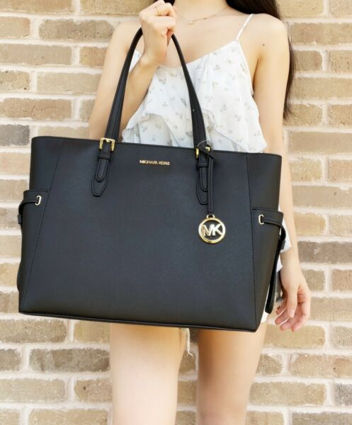 Michael Kors Gilly Large Jet Set Drawstring Top Zip Tote Black Saffiano Leather $148.00