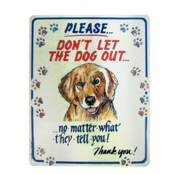 vintaged metal front door gate sign DON#x27;T LET THE DOG OUT funny home wall decor $13.48