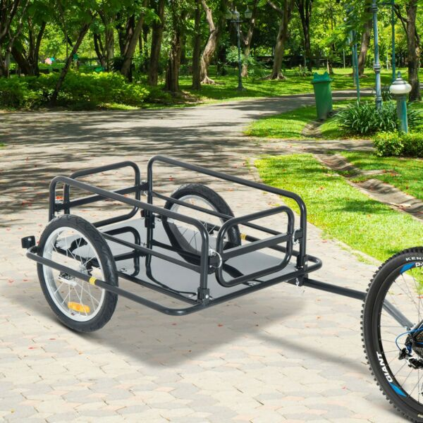 NO SHIPPING Aosom Steel Frame Bicycle Bike Cargo Trailer Cart Carrier 110lb New $125.01