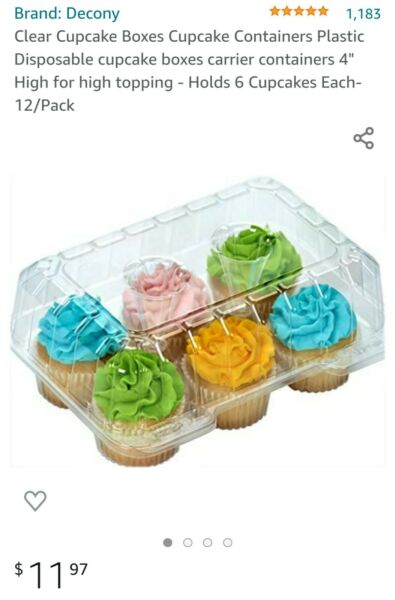 Clear Cupcake Boxes 4quot; High for topping