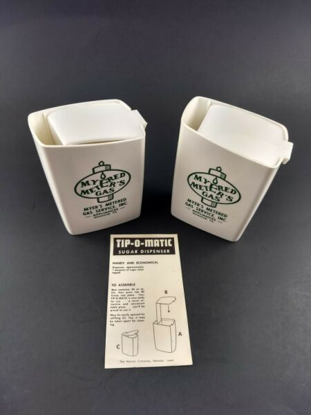 Vintage Advertising Pieces Myers Metered Gas PA Tip O Matic Sugar Dispensers 2 $12.00
