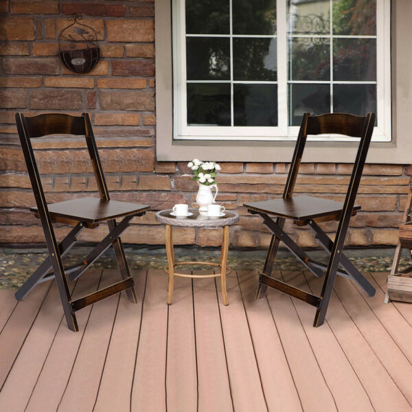2PCS Adirondack Folding Chairs Outdoor Outside Indoor Patio Furniture Poly Seat