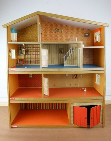 Vintage 4 level Lundby Dollhouse with working electrical lights 1970quot;s