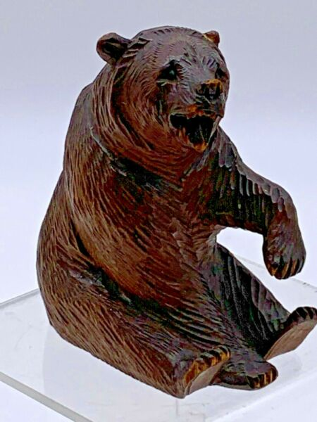 Antique Black Forest Hand Carved Wood Bear Figurine Paperweight